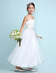 Lanting Bride A-line Ankle-length Flower Girl Dress - Tulle Sleeveless Spaghetti Straps with Lace
