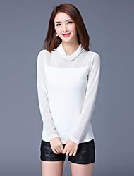 Damen Solide Einfach Lässig/Alltäglich / Übergröße T-shirt,Rollkragen Herbst Langarm Weiß / Lila Polyester / Elasthan Mittel