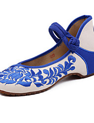 Women's Shoes Canvas Spring / Summer / Fall Mary Jane / Comfort Flats Casual Flat Heel Buckle Flower Blue Red Walking