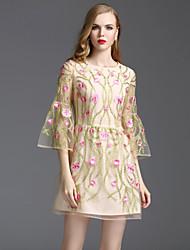 Viva Vena® Damen Rundhalsausschnitt 3/4 Ärmel Mini Kleid-VA88239