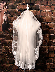 Wedding Veil One-tier Elbow Veils Lace Applique Edge Tulle / Lace Ivory Ivory