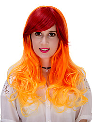 Orange gradient long hair wig.WIG LOLITA, Halloween Wig, color wig, fashion wig, natural wig, COSPLAY wig.
