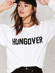 Damen Buchstabe Einfach Lässig/Alltäglich T-shirt,Rundhalsausschnitt Herbst Langarm Weiß Baumwolle Mittel