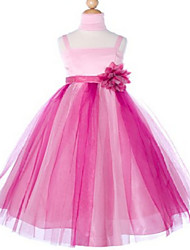 Ball Gown Floor-length Flower Girl Dress - Tulle Sleeveless Spaghetti Straps with Bow(s) / Flower(s) / Sash / Ribbon