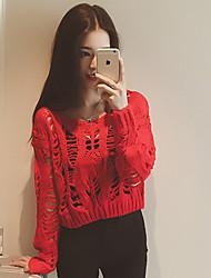 Damen Kurz Pullover-Lässig/Alltäglich Einfach Solide Blau / Rot / Beige / Braun Rundhalsausschnitt Langarm Baumwolle Frühling Mittel