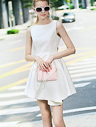 Women's Casual/Daily Cute A Line Dress,Jacquard Round Neck Above Knee Sleeveless Cotton Summer