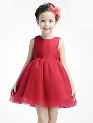 AMGAM A-line Short / Mini Flower Girl Dress - Tulle Jewel with Bow(s)