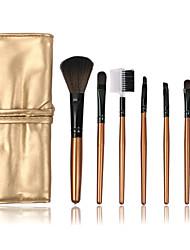 7Pcs Black/Gold Synthetic Fiber Makeup Brushes Set