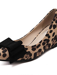 Women's Heels Fall Wedges / Pointed Toe Fabric Casual Wedge Heel Bowknot Black / Animal Print Others