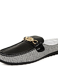 Men's Loafers & Slip-Ons Spring / Fall Comfort Linen Casual Flat Heel Slip-on Black / White Walking