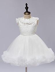 Vestido de baile vestido de flor com joelho - Tulle jóia sem mangas pescoço com babados