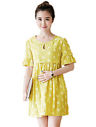 Maternity Round Neck Ruched Print Big Swing Short Sleeve Dress