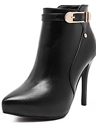 Women's Boots Fall Winter Bootie PU Office & Career Casual Stiletto Heel Buckle Black Others