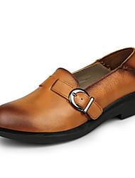 Damen-Flache Schuhe-Lässig-Leder-Flacher Absatz-Komfort-Braun / Burgund