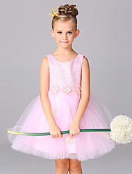 A-line Knee-length Flower Girl Dress - Lace / Organza Sleeveless Jewel with Flower(s) / Lace