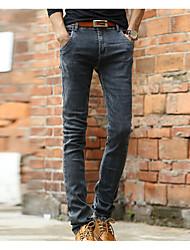 Men's Solid Plus Size Jeans,Cotton Black