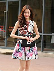 brilho mulheres saindo gola dressfloral bonito acima do joelho sem mangas rosa de algodão / poliéster verão