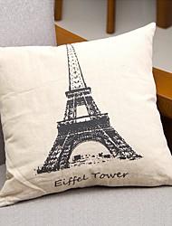 Algodão/Linho Cobertura de Almofada,Torre Eiffel Casual
