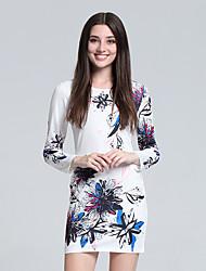 Women's Club Vintage Sheath Dress,Floral Round Neck Mini Long Sleeve White Cotton Fall High Rise Micro-elastic Thin