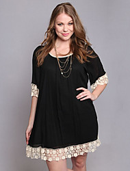 Women's Plus Size / Casual/Daily Sexy Loose Dress,Solid / Patchwork Round Neck Above Knee ½ Length Sleeve Black Polyeste