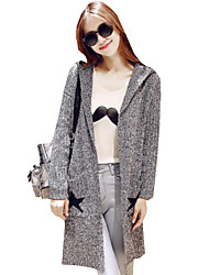 Women's Casual/Daily Simple Loose Long Cardigan,Print Star Gray Hooded Long Sleeve