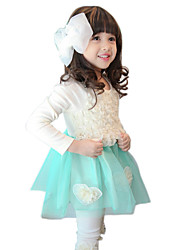 Girl's Cotton Spring/Autumn Lace Flower Long Sleeve Skirt Princess Dress