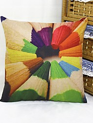 Colourful Pencils Square Linen  Decorative Throw Pillow Case Cushion Cover