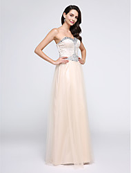 TS Couture Prom Formal Evening Dress - Elegant Sheath / Column Sweetheart Floor-length Tulle with Crystal Detailing Sequins