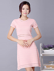 Boutique S Women's Going out Cute Sweater Dress,Solid Round Neck Above Knee Short Sleeve Pink Others Spring