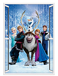 3D Frozen Wall Stickers Cartoon Movie Elsa Anna Sven Family Living Room 3D Wall Stickers