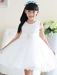 A-line Knee-length Flower Girl Dress - Cotton / Satin / Tulle Sleeveless Jewel with Pearl Detailing