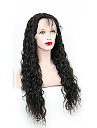 10-28 Inch 100% Virgin Human Hair Water Wave Lace Wig Natural Black Color Frontal Lace Wigs with Baby Hair