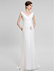 Lanting Bride® Trumpet / Mermaid Mother of the Bride Dress Sweep / Brush Train Sleeveless Chiffon with Crystal Detailing / Criss Cross