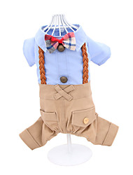 Cat Dog Clothes/Jumpsuit Blue Pink Dog Clothes Winter Spring/Fall British Holiday Fashion Wedding