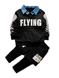 Boy's Casual/Daily Print Clothing SetCotton Fall Black