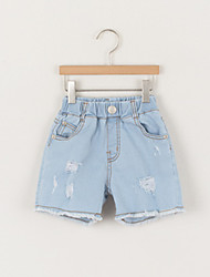 Girl's Casual/Daily Solid Jeans,Cotton Summer Blue