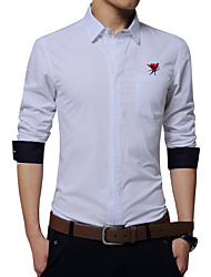 Men's Fashion Embroidery Zipper Designer Slim Fit Business Long Sleeved Shirt; Cotton/Plus Size