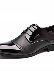 Черный Мужская обувь Свадьба / Для офиса / Для вечеринки / ужина Кожа Туфли на шнуровке