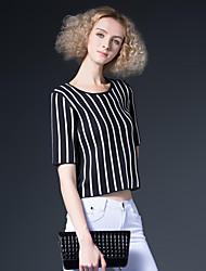 Damen Gestreift Einfach Ausgehen T-shirt,Rundhalsausschnitt Sommer ½ Länge Ärmel Schwarz Baumwolle Mittel