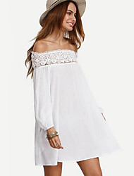 Women's Casual/Daily Street chic Chiffon Dress,Patchwork Boat Neck Above Knee Long Sleeve White Polyester Summer