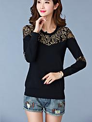 Tee-shirt Aux femmes,Mosaïque Décontracté / Quotidien simple Eté Manches Longues Col Arrondi Bleu / Noir Coton Fin