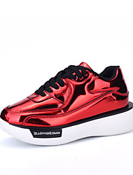 Women's Flats Spring / Fall Comfort Patent Leather Casual Flat Heel Lace-up Black / Red / Silver / Gold Walking