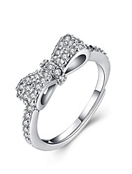 Fine Sterling Silver Bowknot Diamond Statement Ring for Women Wedding Party