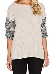 Damen Standard Pullover-Lässig/Alltäglich Einfach Einfarbig Beige / Grau Rundhalsausschnitt Langarm Wolle Herbst Mittel Mikro-elastisch