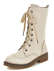 Women's Boots Winter Combat Boots / Round Toe Dress Low Heel Lace-up Black / Brown / Beige Hiking / Others