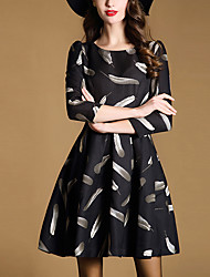 Women's Going out Street chic A Line Dress,Print Round Neck Above Knee ¾ Sleeve Black Polyester Fall