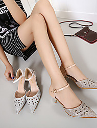 Women's Heels Spring / Summer / Fall Wedges Leatherette Dress Low Heel Rhinestone Silver / Gold Others