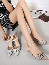 Women's Heels Spring Summer Fall Leatherette Dress Low Heel Rhinestone Silver Gold Others