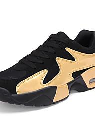 Herren-Sneaker-Lässig-Tüll-Flacher Absatz-Komfort-Blau Gold Schwarz und Weiss