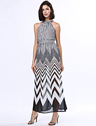 Women's Fine Stripe/Choker Black & White Stripes Sexy Sleeveless Maxi Dress